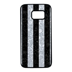 Stripes1 Black Marble & Gray Marble Samsung Galaxy S7 Black Seamless Case by trendistuff