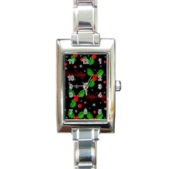 Happy Holidays Pattern Rectangle Italian Charm Watch by Valentinaart
