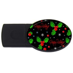 Happy Holidays Pattern Usb Flash Drive Oval (2 Gb)  by Valentinaart