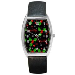 Happy Holidays Pattern Barrel Style Metal Watch by Valentinaart