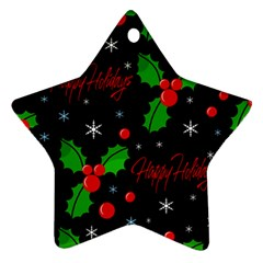Happy Holidays Pattern Star Ornament (two Sides)  by Valentinaart