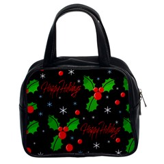 Happy Holidays Pattern Classic Handbags (2 Sides) by Valentinaart