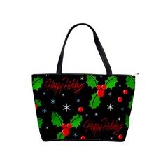 Happy Holidays Pattern Shoulder Handbags by Valentinaart