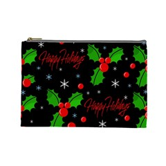 Happy Holidays Pattern Cosmetic Bag (large)  by Valentinaart