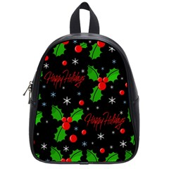 Happy Holidays Pattern School Bags (small)  by Valentinaart