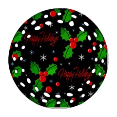 Happy Holidays Pattern Round Filigree Ornament (2side) by Valentinaart