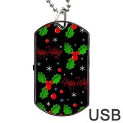 Happy Holidays Pattern Dog Tag Usb Flash (one Side) by Valentinaart