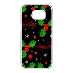 Happy Holidays Pattern Samsung Galaxy S7 Edge White Seamless Case by Valentinaart
