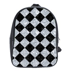 Square2 Black Marble & Gray Marble School Bag (xl) by trendistuff