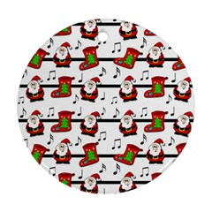 Xmas Song Pattern Ornament (round)  by Valentinaart