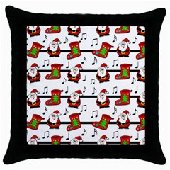 Xmas Song Pattern Throw Pillow Case (black) by Valentinaart