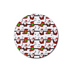 Xmas Song Pattern Rubber Round Coaster (4 Pack)