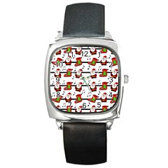Xmas Song Pattern Square Metal Watch by Valentinaart
