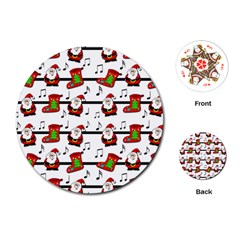 Xmas Song Pattern Playing Cards (round)  by Valentinaart