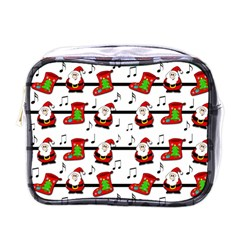 Xmas Song Pattern Mini Toiletries Bags by Valentinaart