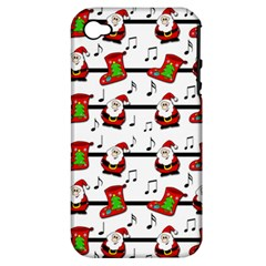 Xmas Song Pattern Apple Iphone 4/4s Hardshell Case (pc+silicone) by Valentinaart