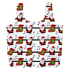 Xmas Song Pattern Full Print Recycle Bags (l)  by Valentinaart