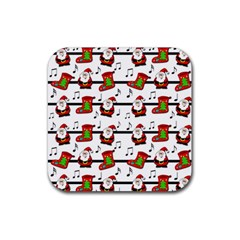 Xmas Song Pattern Rubber Coaster (square)  by Valentinaart