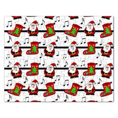 Xmas Song Pattern Rectangular Jigsaw Puzzl by Valentinaart