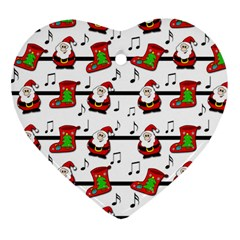 Xmas Song Pattern Heart Ornament (2 Sides)