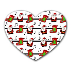 Xmas Song Pattern Heart Mousepads by Valentinaart