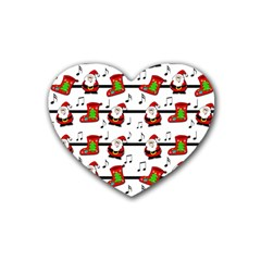 Xmas Song Pattern Rubber Coaster (heart)  by Valentinaart