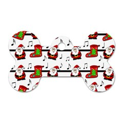 Xmas Song Pattern Dog Tag Bone (two Sides) by Valentinaart