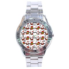 Xmas Song Pattern Stainless Steel Analogue Watch by Valentinaart