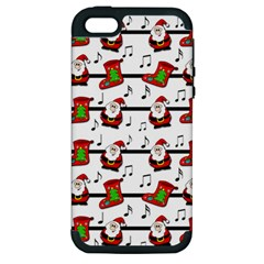Xmas Song Pattern Apple Iphone 5 Hardshell Case (pc+silicone) by Valentinaart