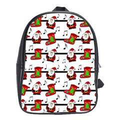 Xmas Song Pattern School Bags (xl)  by Valentinaart
