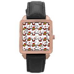 Xmas Song Pattern Rose Gold Leather Watch  by Valentinaart