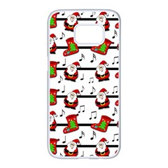Xmas Song Pattern Samsung Galaxy S7 Edge White Seamless Case by Valentinaart