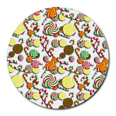 Xmas Candy Pattern Round Mousepads by Valentinaart