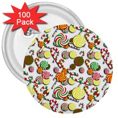 Xmas Candy Pattern 3  Buttons (100 Pack)  by Valentinaart