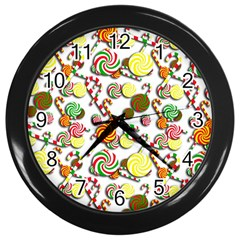 Xmas Candy Pattern Wall Clocks (black) by Valentinaart