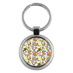 Xmas Candy Pattern Key Chains (round)  by Valentinaart