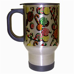 Xmas Candy Pattern Travel Mug (silver Gray) by Valentinaart