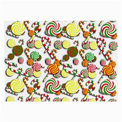 Xmas Candy Pattern Large Glasses Cloth (2 Side) by Valentinaart
