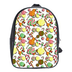 Xmas Candy Pattern School Bags(large)  by Valentinaart