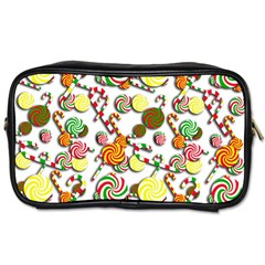Xmas Candy Pattern Toiletries Bags 2 Side by Valentinaart