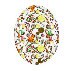Xmas Candy Pattern Oval Filigree Ornament (2 Side)  by Valentinaart