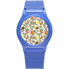 Xmas Candy Pattern Round Plastic Sport Watch (s) by Valentinaart