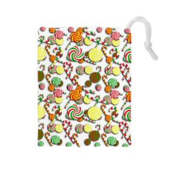 Xmas Candy Pattern Drawstring Pouches (large)  by Valentinaart