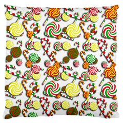 Xmas Candy Pattern Large Flano Cushion Case (one Side) by Valentinaart