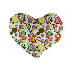 Xmas Candy Pattern Standard 16  Premium Flano Heart Shape Cushions by Valentinaart
