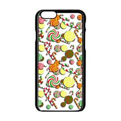 Xmas Candy Pattern Apple Iphone 6/6s Black Enamel Case by Valentinaart
