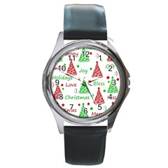 New Year Pattern Round Metal Watch by Valentinaart