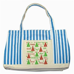 New Year Pattern Striped Blue Tote Bag by Valentinaart