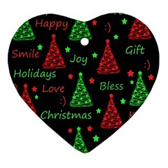 New Year Pattern   Red And Green Ornament (heart)  by Valentinaart