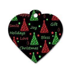 New Year Pattern   Red And Green Dog Tag Heart (one Side)